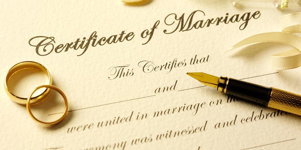 Pick up a marriage license