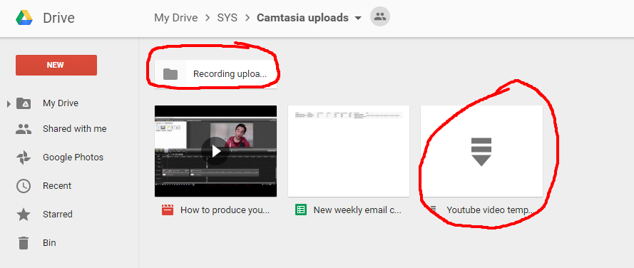 Produce youtube videos with camtasia process street this image shows the youtube video template folder and the recordings upload folder maxwellsz
