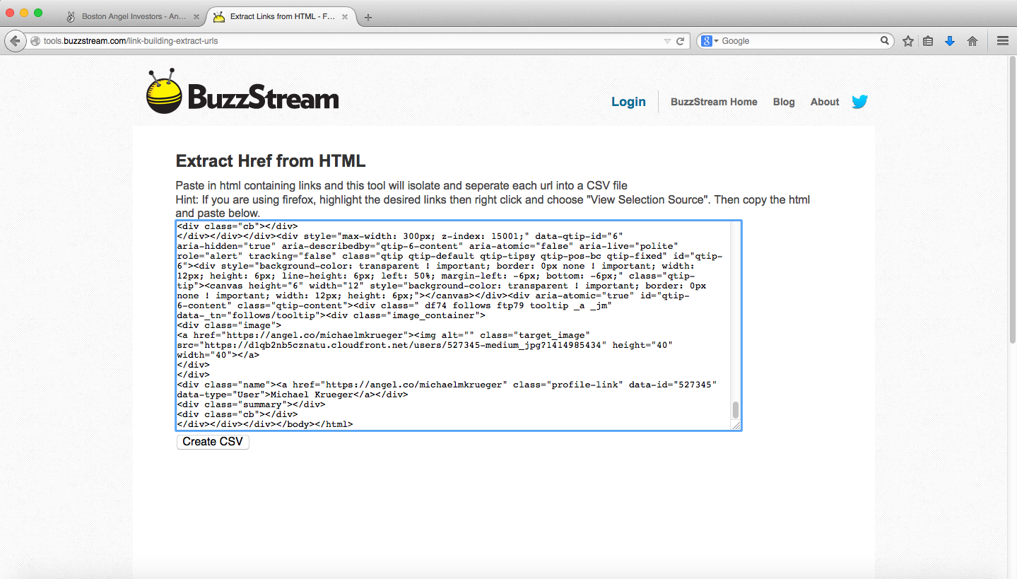 Parse source code with BuzzStream Tool