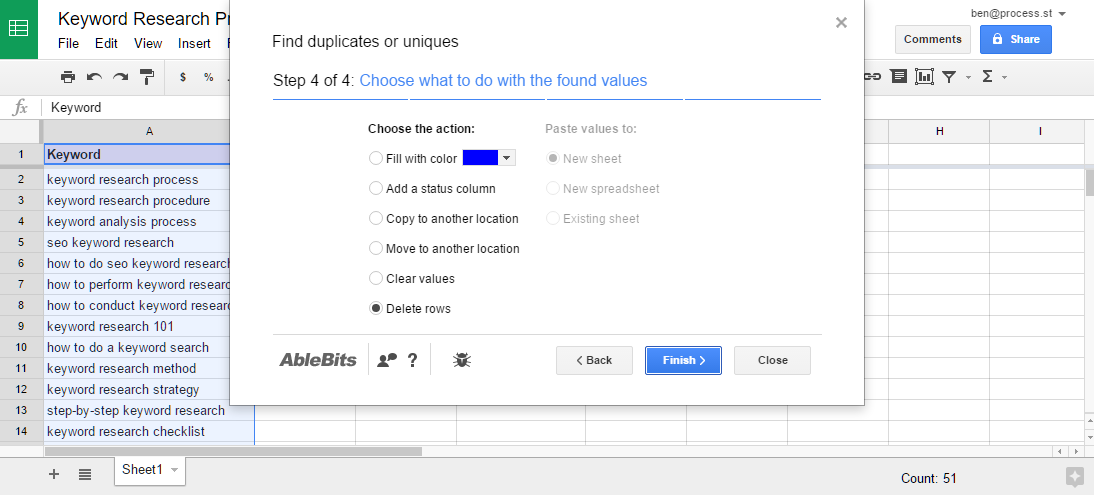 Remove duplicate keywords