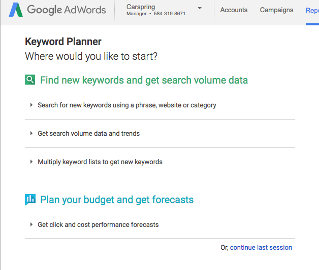 "Select ""Search for new keywords..."""