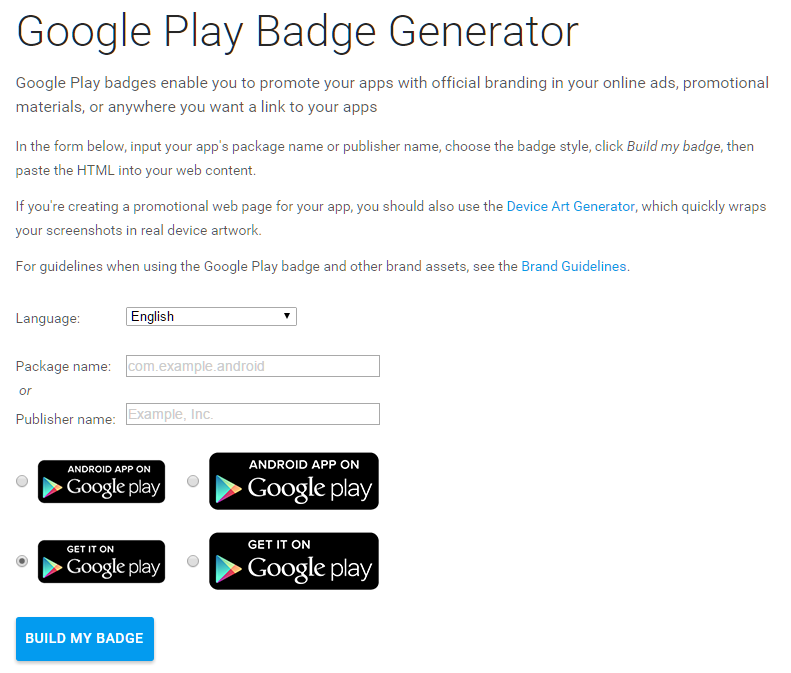 Create badges for linking