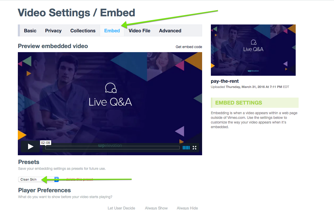 Video Settings in Vimeo