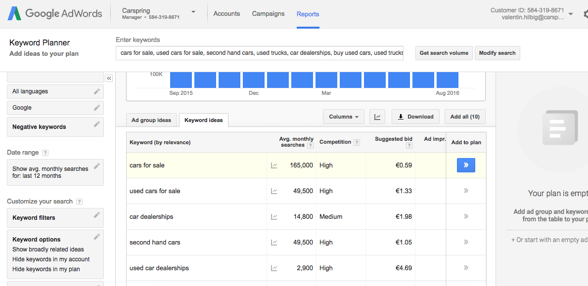 Copy the remaining keywords into Google Keyword Planner