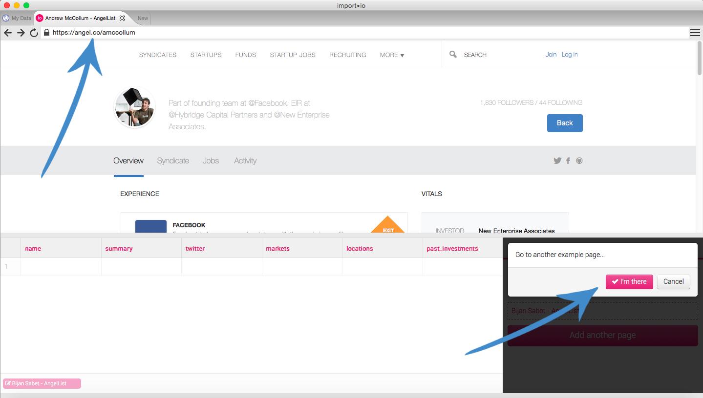 Configure Import.io crawler for AngelList