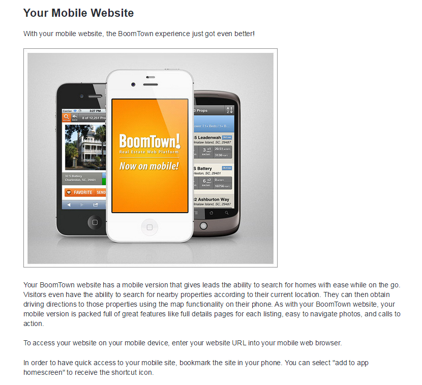 Navigate to FindStGeorgeRealEstate.com on mobile devices and save bookmark