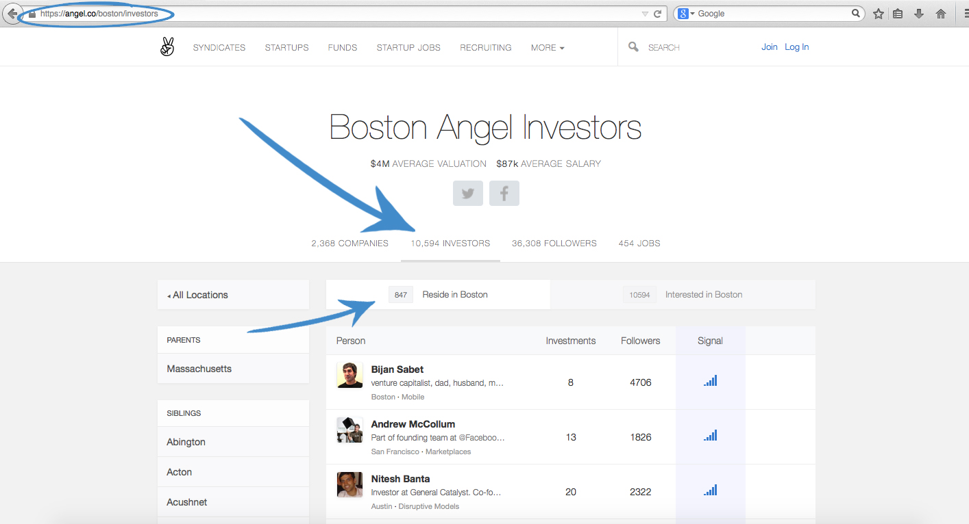 Browse to AngelList and pick the city you want to scrape