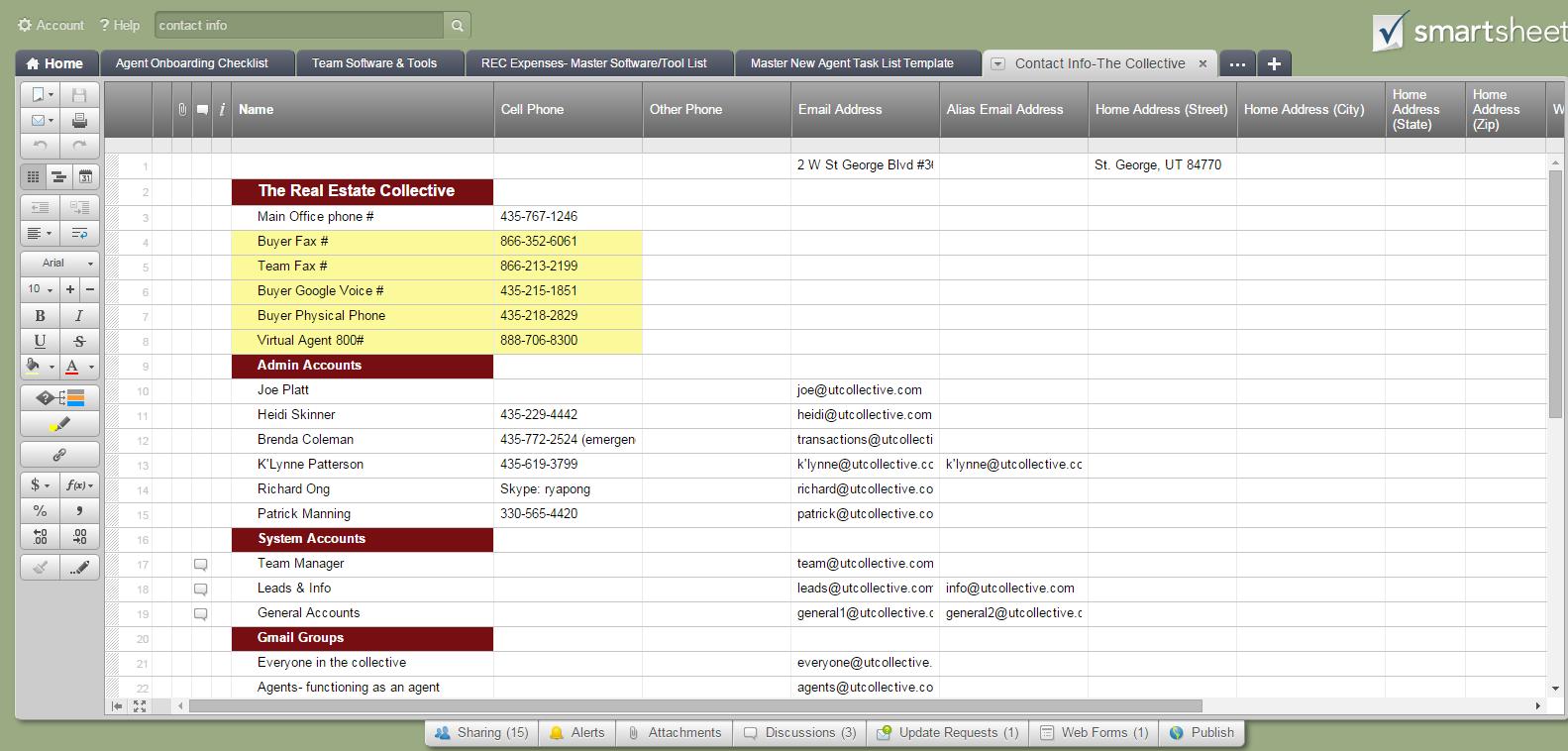 Put agent website url on contact info smartsheet(ADMIN TASK)