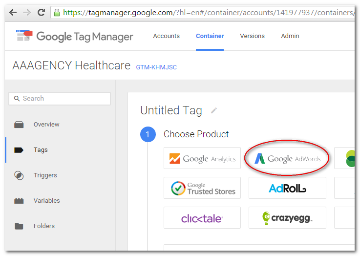 "Select ""Google AdWords"" as Product"