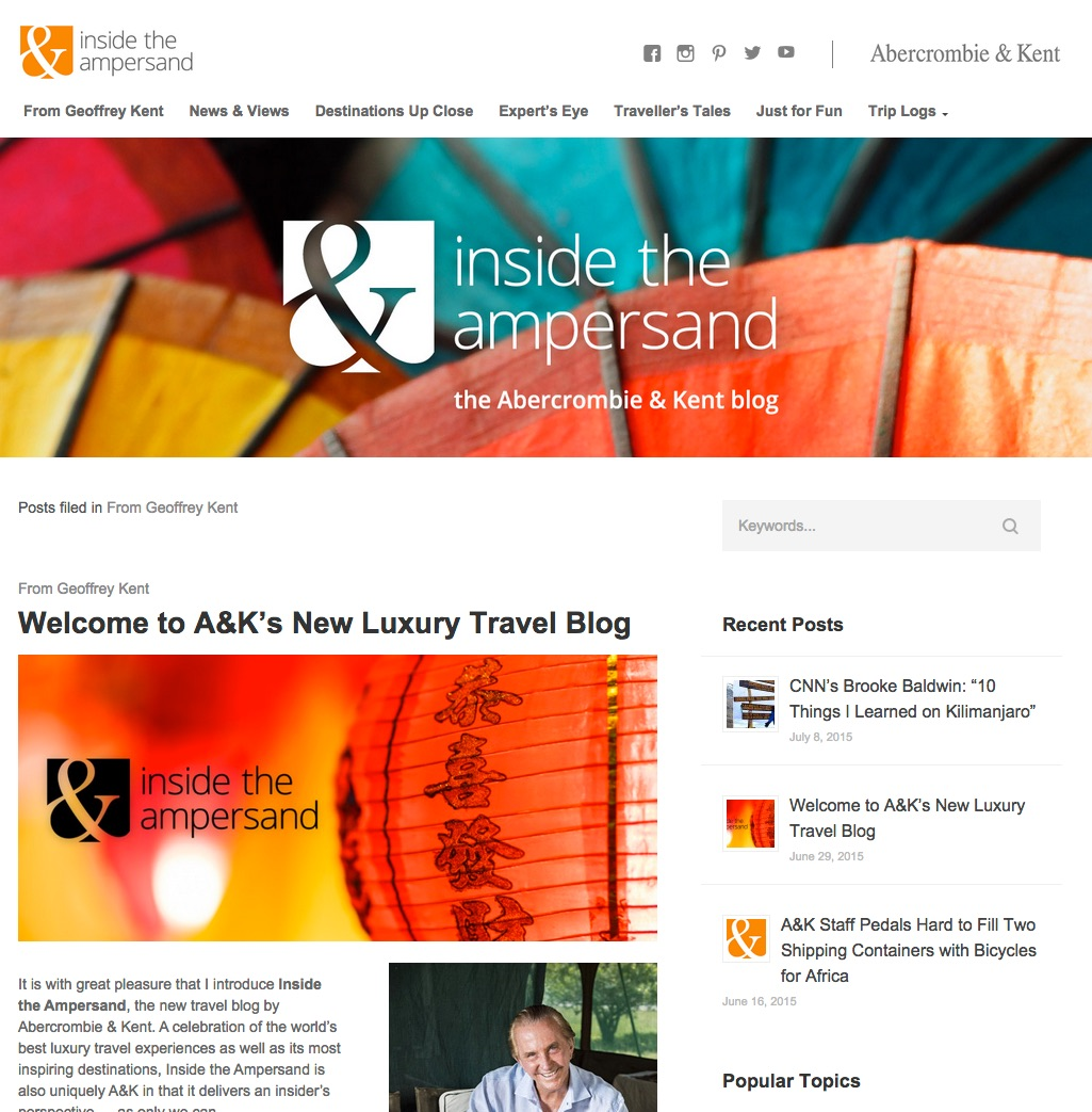The new style and structured blog as of July 2015 is only available to view on http://abercrombiekent.com/blog/ not on the .co.uk version yet ( although the content is available in the UK)