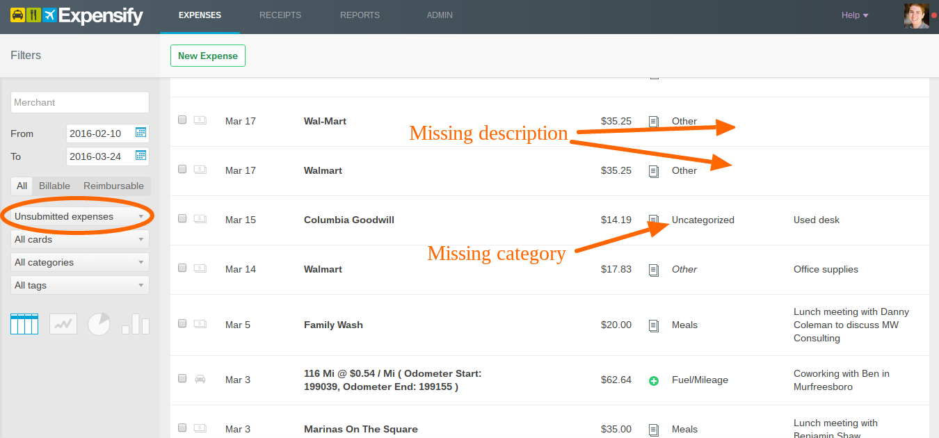 submitting expense reports from expensify process street