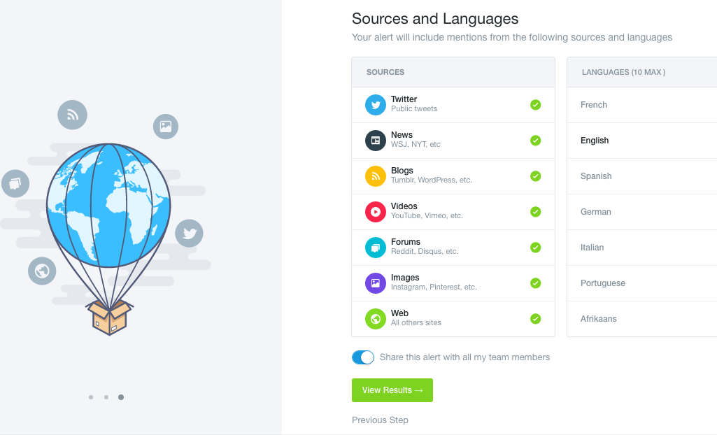 Confirm mention sources & languages