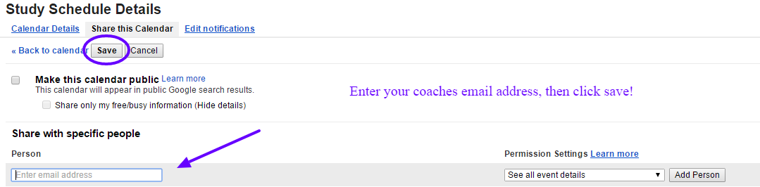 Enter your coaches email, then click Save!