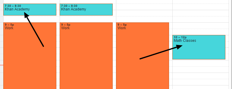 Added at least 3 hours of online studying to calendar