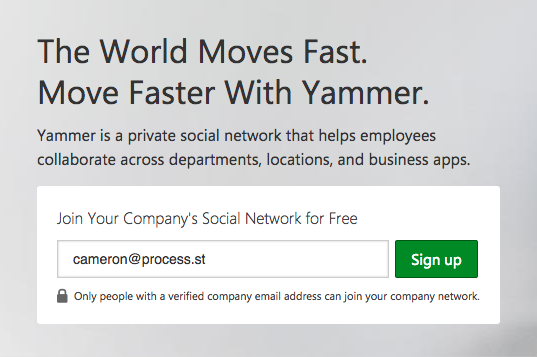 Sign up for Yammer