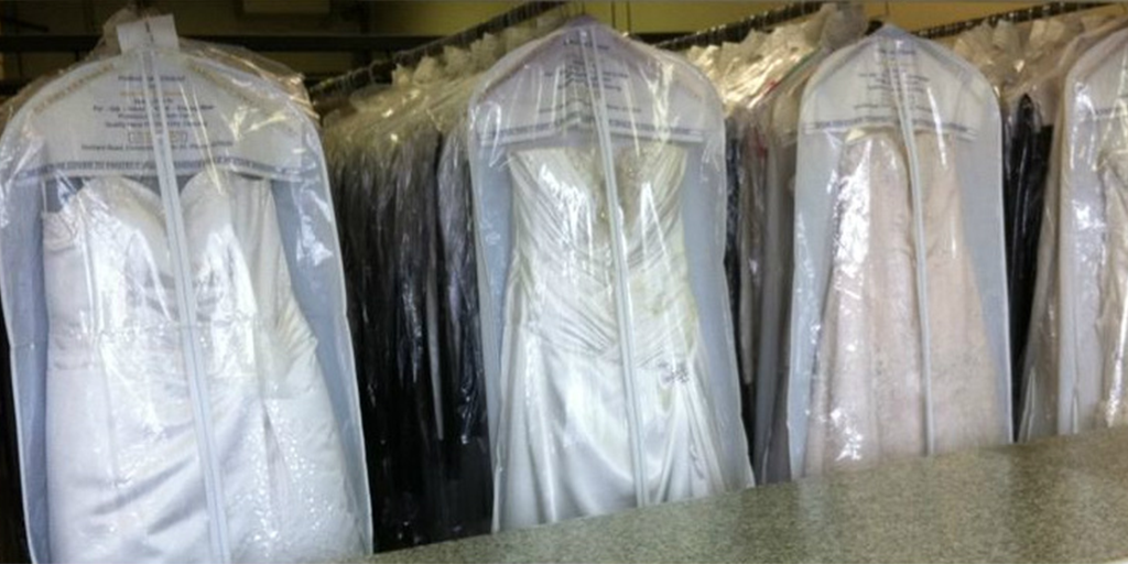 Dry clean and preserve wedding gown and veil
