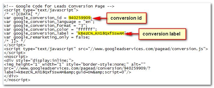 "Configure tag by adding the ""Conversion ID"" and ""Conversion Label"". Click Continue."