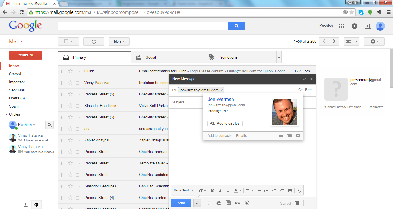Look for Email using Google pulse