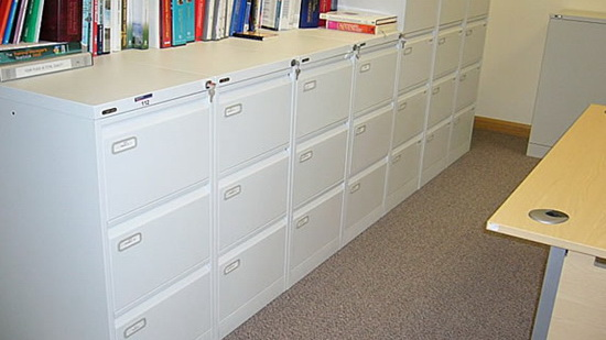 Dust off filing cabinets
