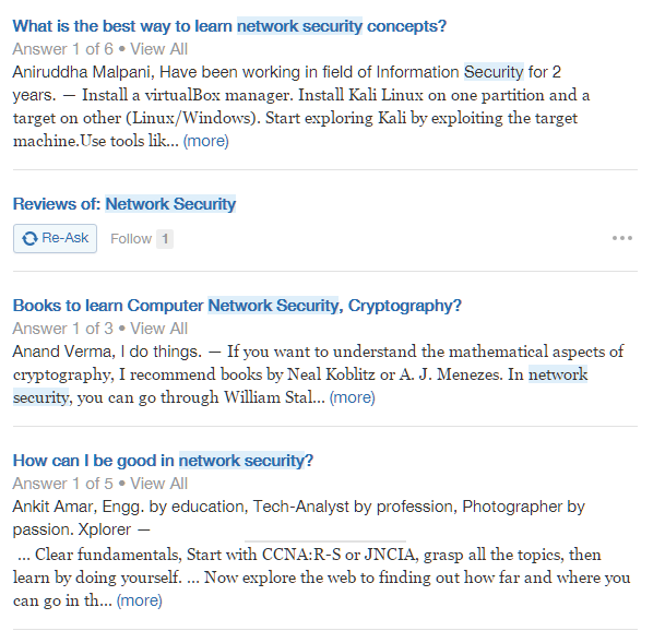 Search in Quora
