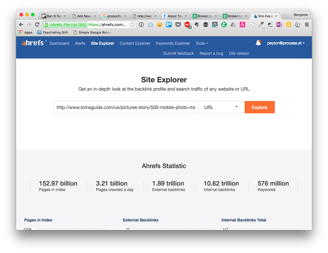 Search the link in Ahrefs Site Explorer
