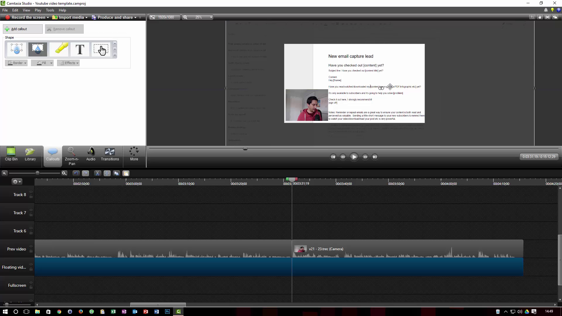 Produce youtube videos with camtasia process street jump out of email maxwellsz