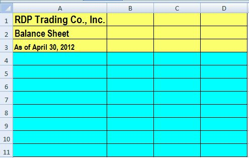 Create the header of the balance sheet