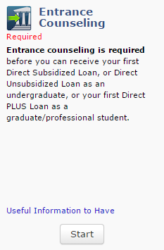 Complete Loan Entrance Counseling