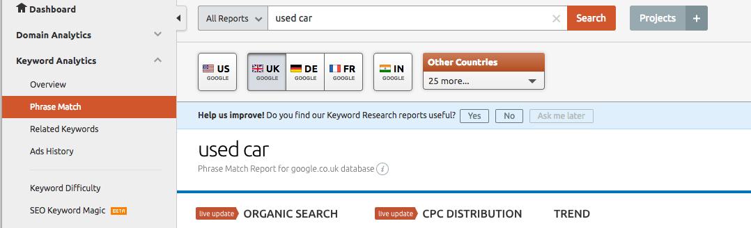 Use the SEMRush Keyword Analytics to get relevant keywords