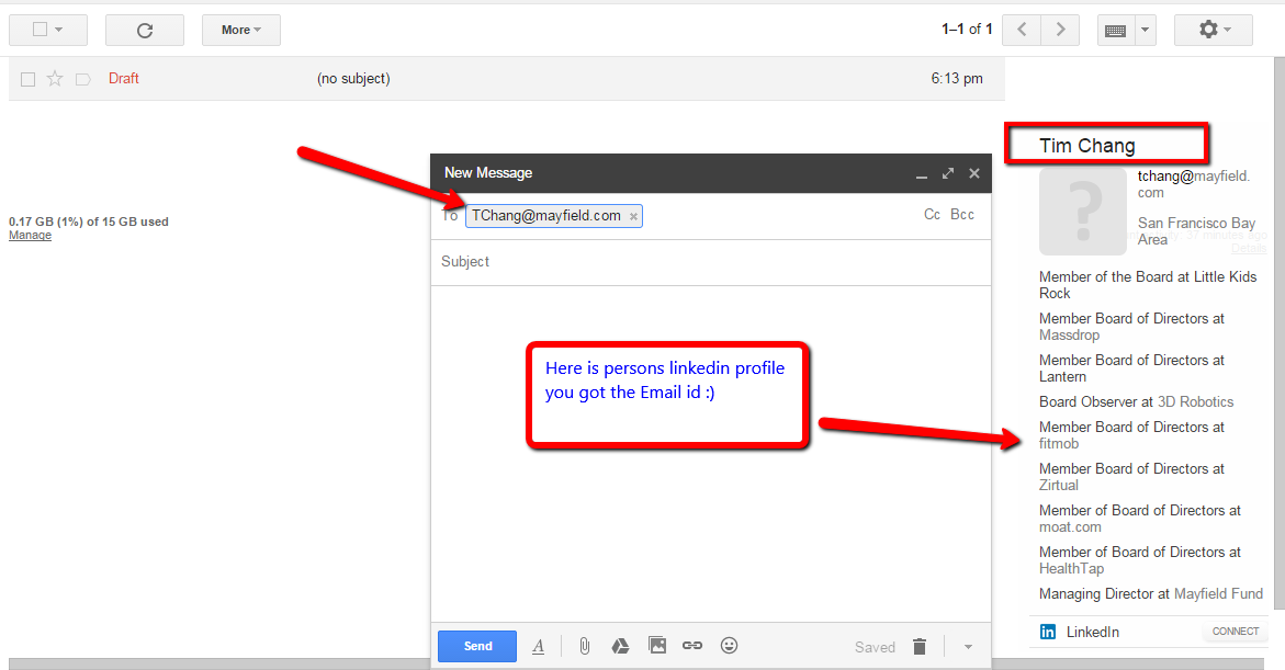 Look for LinkedIn information using these different combinations in your Gmail account