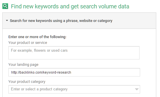 Reverse lookup with Google Keyword Planner