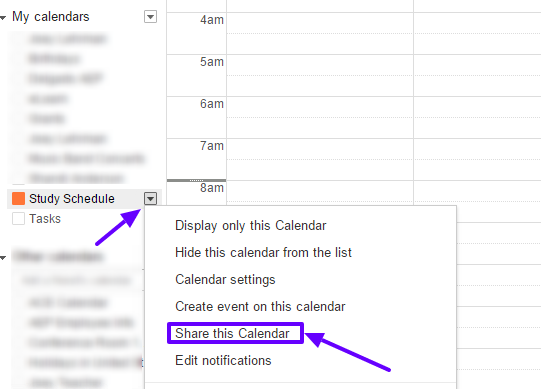 "First, click on the arrow for the calendar, then click ""Share this Calendar."""