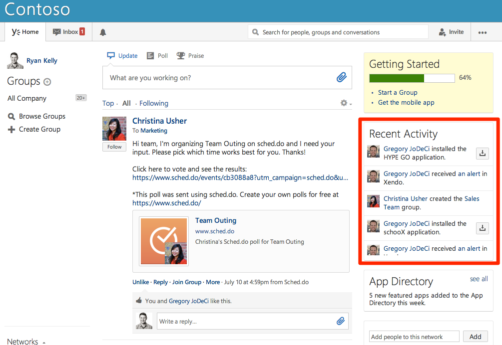 Activities are a great way to integrate with Yammer.
